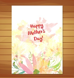 mothers day card greeting retro watercolor vector image