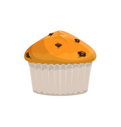 Muffin with raisins isolated cupcake vector
