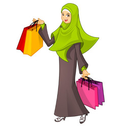 Muslim Woman Holding a Shopping Bag Wearing Green vector image