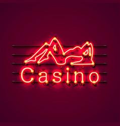 Neon casino sexy girl signboard vector