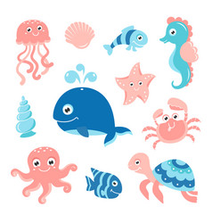 Ocean set with cartoon sea animals vector