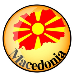 Orange button with the image maps of Macedonia vector