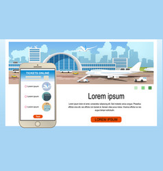 Ordering airline services cartoon webpage vector