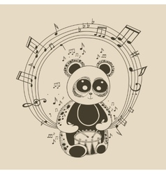panda musician vector image