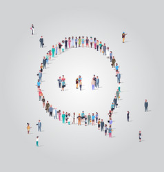 people crowd gathering in chat bubble speech icon vector image
