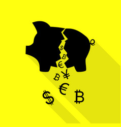 pig money bank sign black icon with flat style vector image