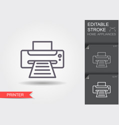 printer line icon with editable stroke with vector image