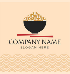 red bowl noodles logo templates vector image
