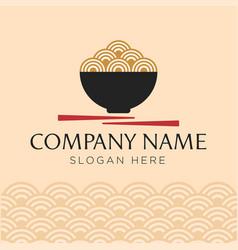 red bowl noodles logo templates vector image