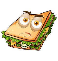 Sad face on sandwich vector