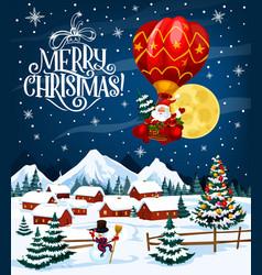 Santa claus on christmas balloon vector