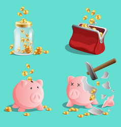 savings money set piggy bank moneybox purse vector image