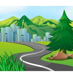 Scene with road to the city vector