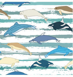 seamless background of cartoon whales vector image