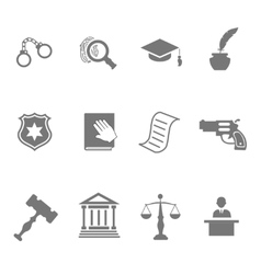 set black and white silhouette justice and vector image