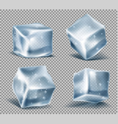 Set of blue ice cubes frozen icy blocks vector