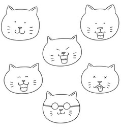 Set of cat face vector