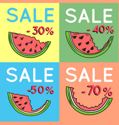 Set of summer sale backgrounds with watermelon vector