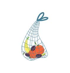 Shopping cloth string bag zero waste reusable vector
