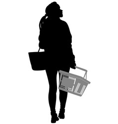 silhouette of a woman walking with shopping basket vector image