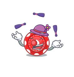 Smart gambling chips cartoon character design vector