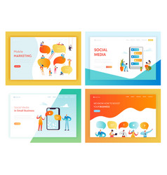 Social media networking concept landing page vector