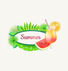 summer banner with frame for text green palm tree vector image