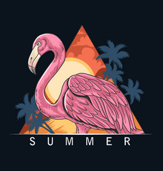summer flamingos on beach with coconut trees vector image