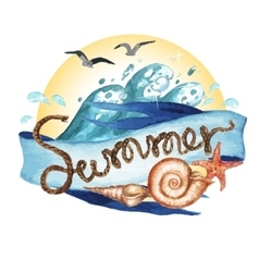 Summer - watercolor painting vector image