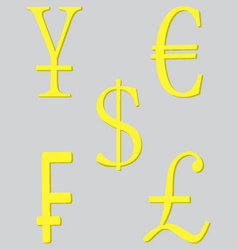 Symbol money set golden vector