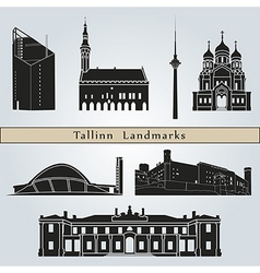 Tallinn landmarks and monuments vector image