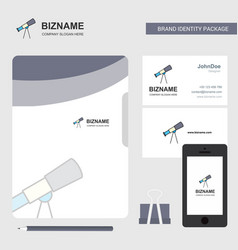 Telescope business logo file cover visiting card vector