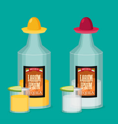 tequila bottle lemon flat vector image