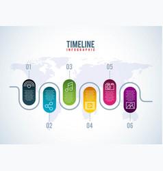 timeline infographic world social media network vector image