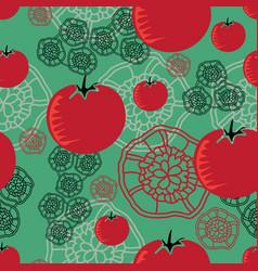 tomato and lace-vegi delight seamless repeat vector image