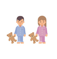 Two cute little kids in pajamas holding teddy vector