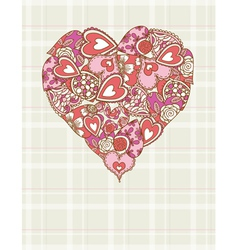 valentines heart with hand drawing many hearts vector image