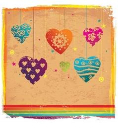 Vintage valentines color heart background vector