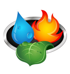 Water fire and green leaf vector