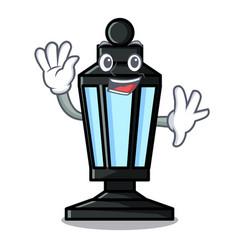 Waving street lamp character cartoon vector
