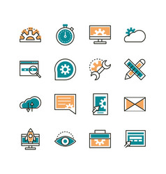 web development icons collection line and fill vector image