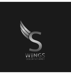 Wings S letter logo vector image
