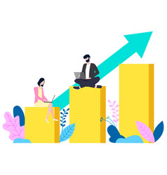 Worker business idea rising graph success vector