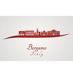 Bergamo skyline in red vector image vector image
