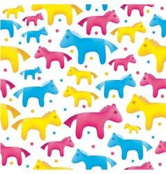 colorful toy horses seamless background vector image vector image