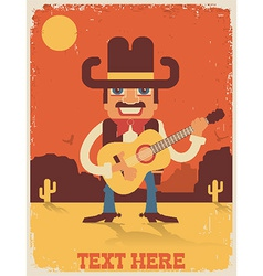 Cowboy playing guitar country music vector image vector image