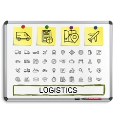 Logistic hand drawing line icons vector image