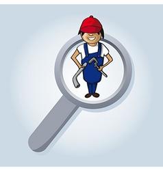Service search plumber boy cartoon vector image vector image
