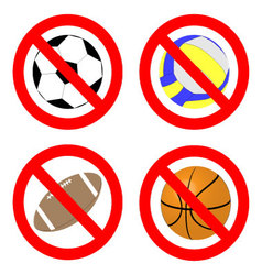 Ban game with ball icon set vector image vector image