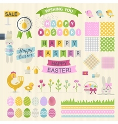 Happy Easter Set in flat style vector image vector image
